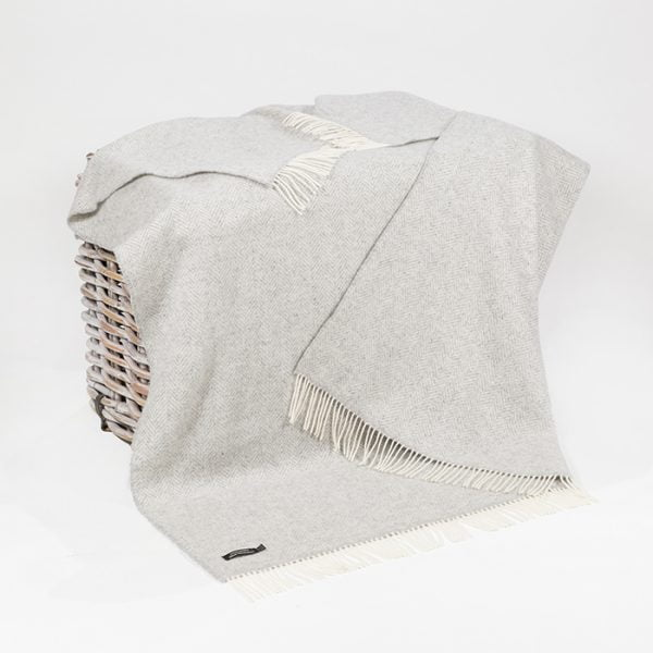 Oversize Cashmere Throw Cream Herringbone