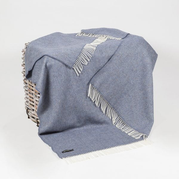 Oversize Cashmere Throw Denim Cream