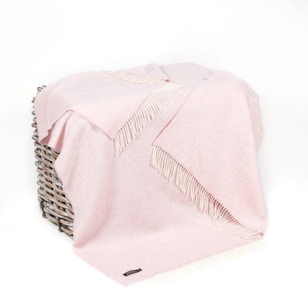 Oversize Cashmere Throw Baby Pink Herringbone