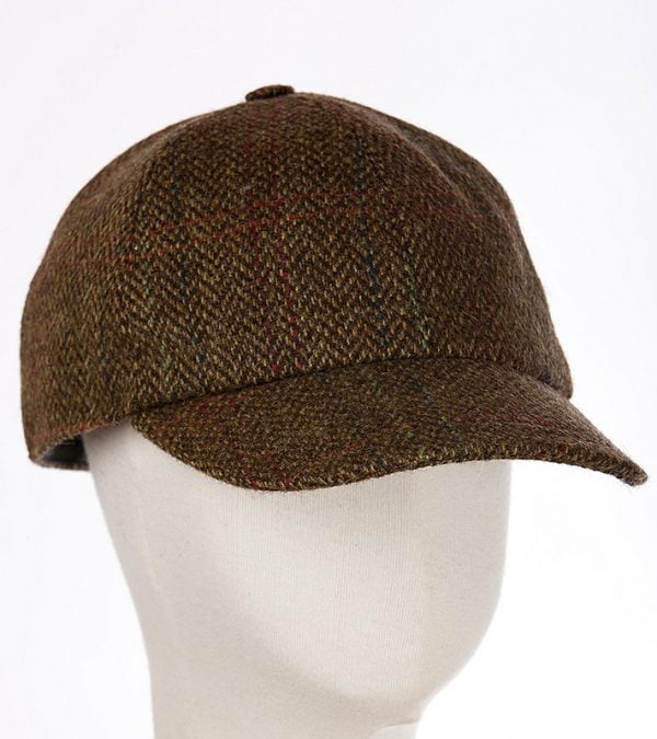 Baseball Cap with Ear Flap Tan Brown Herringbone