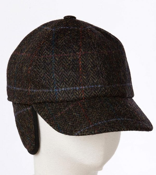 Baseball Cap with Ear Flap Dark Green Black Herringbone