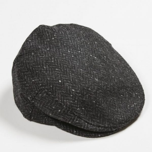 Irish Tweed Cap Charcoal Black Herringbone Donegal