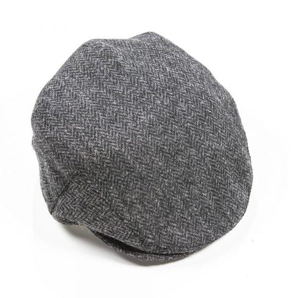 Irish Tweed Cap Charcoal Black Herringbone
