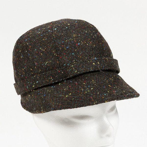 Irish Ladies Tweed Hat Brown Turquoise Herringbone Donegal