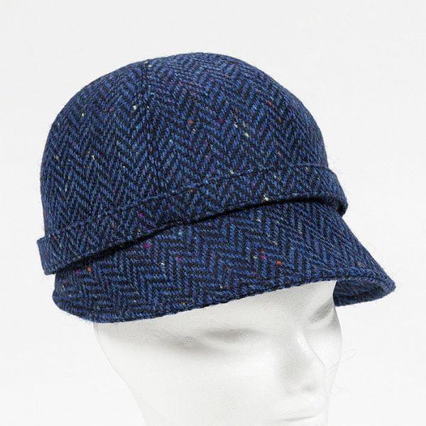 Irish Ladies Tweed Hat Royal Blue Navy Herringbone Donegal
