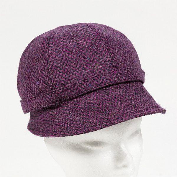 Irish Ladies Tweed Hat Pink Deep Purple Herringbone Donegal