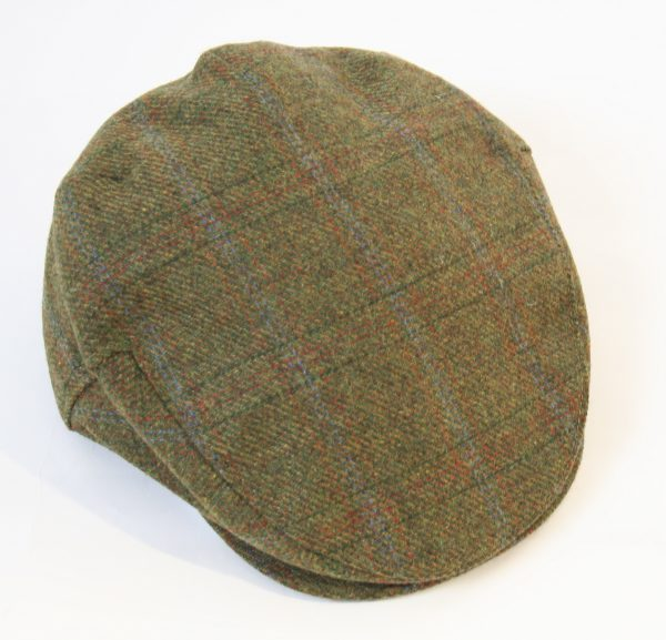 Irish Tweed Cap Forest Green Rust Overcheck