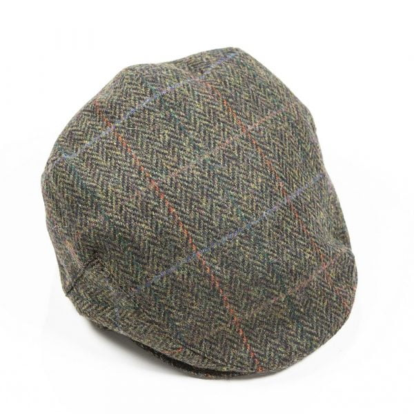 Irish Tweed Cap Dark Green Black Herringbone