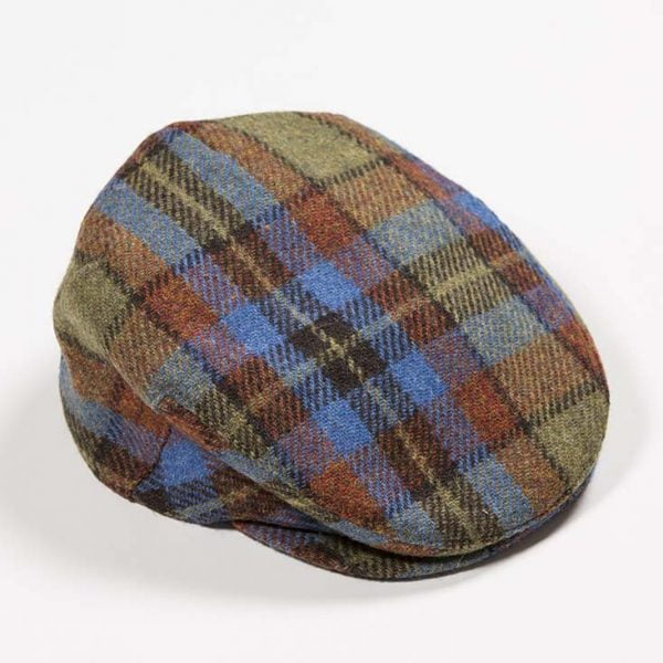 Irish Tweed Cap Gold Rust Blue Check