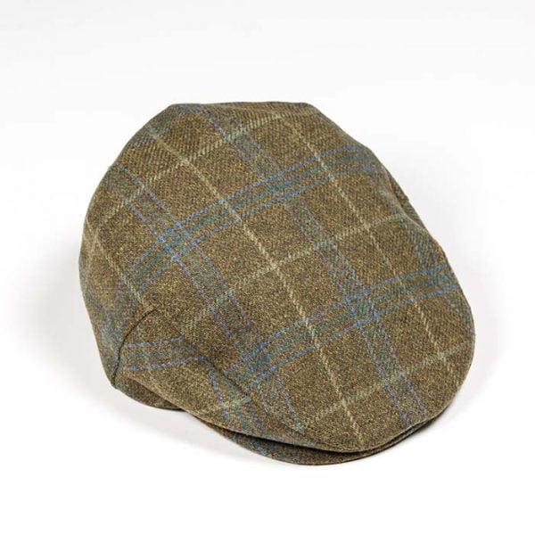 Irish Tweed Cap Olive Green Blue Overcheck