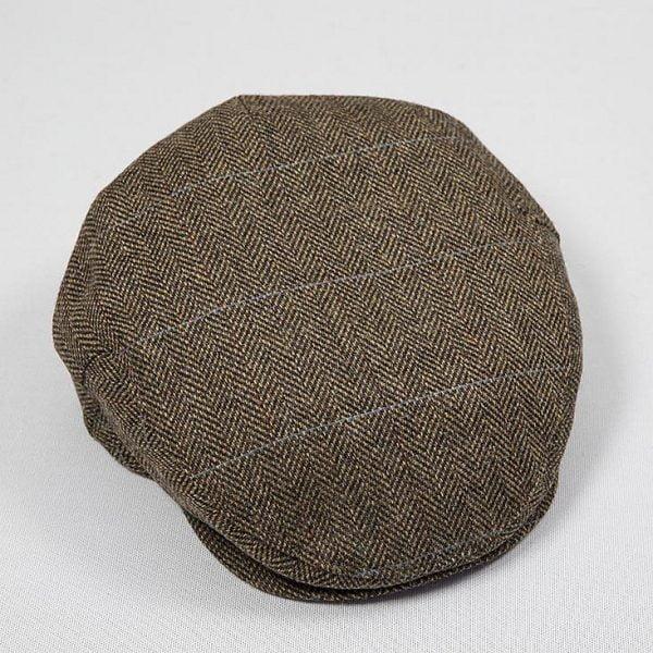 Irish Tweed Cap Beige Charcoal Overcheck