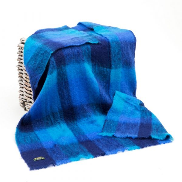 Mohair Throw Navy Blue Aqua Block