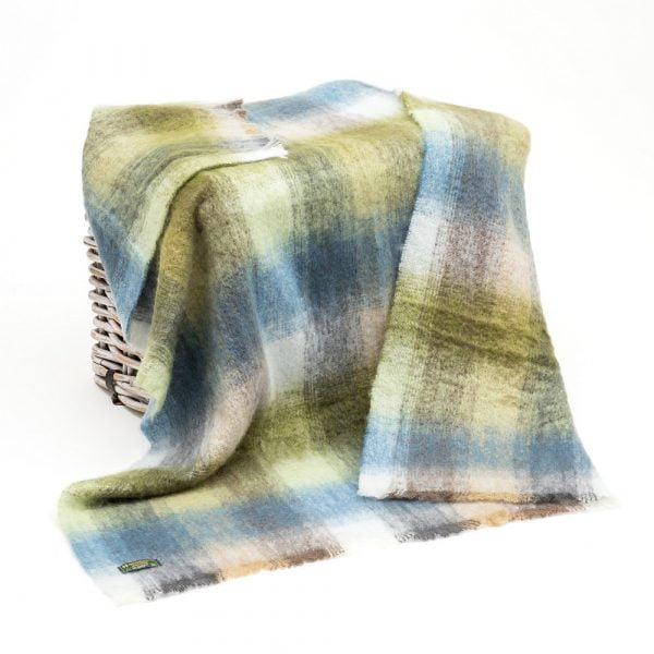 Mohair Throw Cream, Pale Blue, Pale Green & Grey Mix Block Check