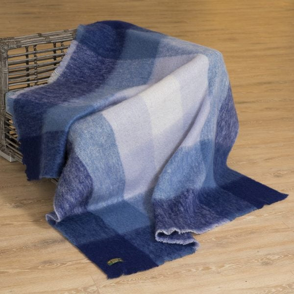 Mohair Throw Blue Mix Block Check