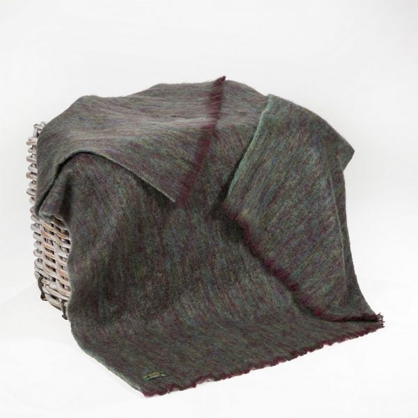 Mohair Throw Dark Purple & Green Plain