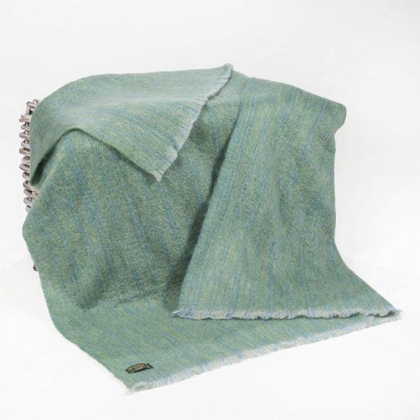 Mohair Throw Pale Green & Blue Plain