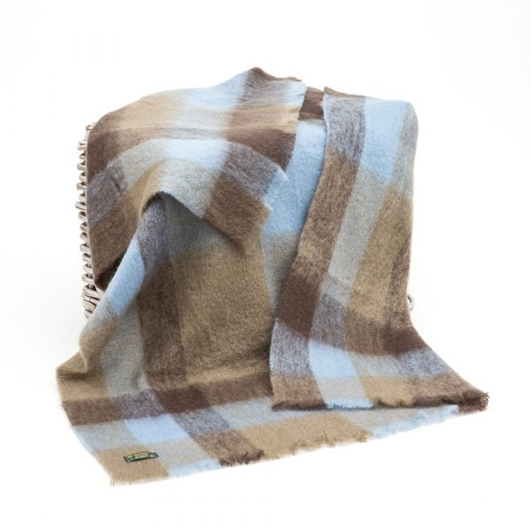 Mohair Throw  Taupe Sky Blue an Brown Check