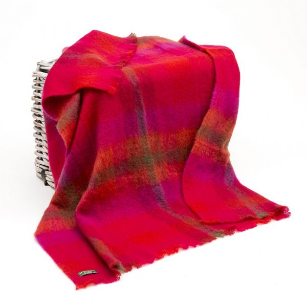 Mohair Throw Bright Red & Pink Check