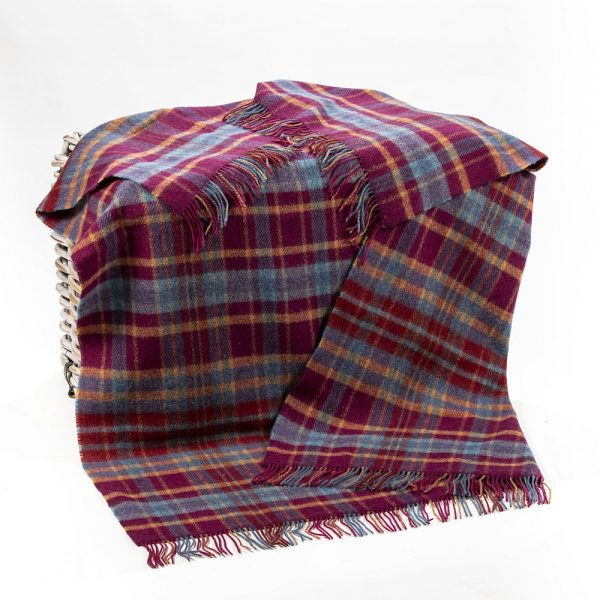 Large Irish Picnic Blanket Maroon and Blue Plaid