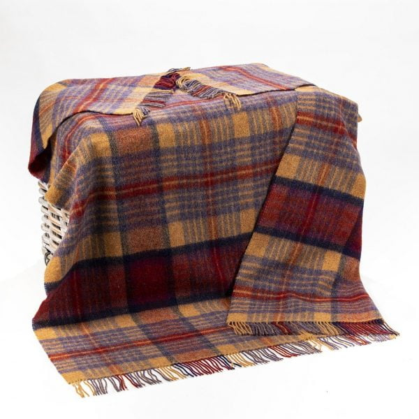 Large Irish Picnic Blanket Maroon Brown Mauve Plaid