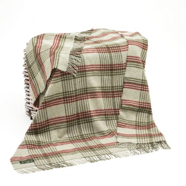 Large Irish Picnic Blanket Green Mix with Red Plaid