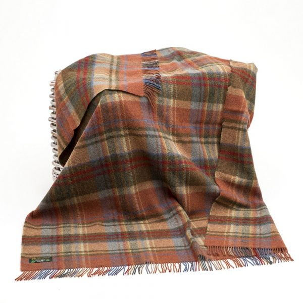 Large Irish Picnic Blanket Brown Orange and Blue Plaid