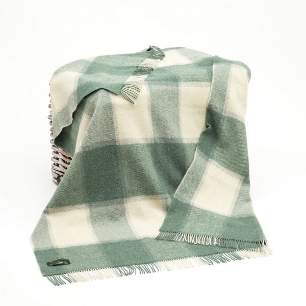 Large Irish Picnic Blanket White Sea Green Block