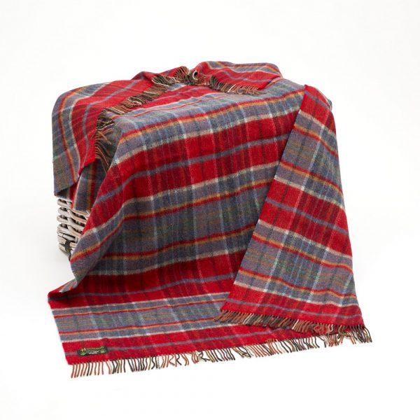Large Irish Picnic Blanket Orange Red Midnight Blue Plaid