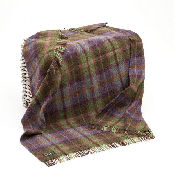 Large Irish Picnic Blanket Green and Purple Mix Tartan