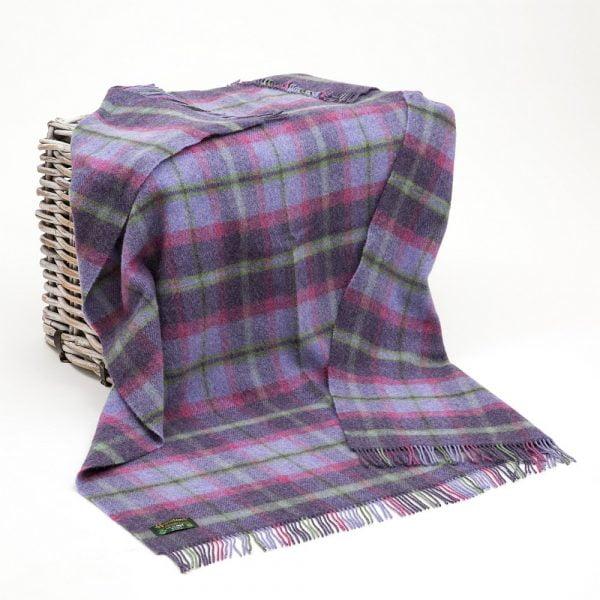 Large Irish Picnic Blanket Purple Pink and Green Tartan