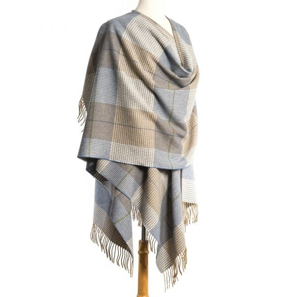 Lambswool Cape Cream Taupe Denim Check