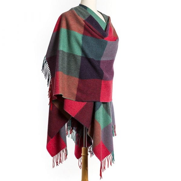 Lambswool Cape Pink Purple Teal Block Check