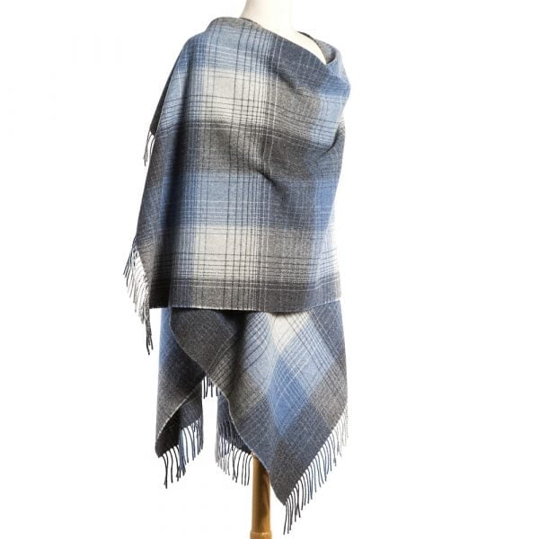 Lambswool Cape Grey Denim Check