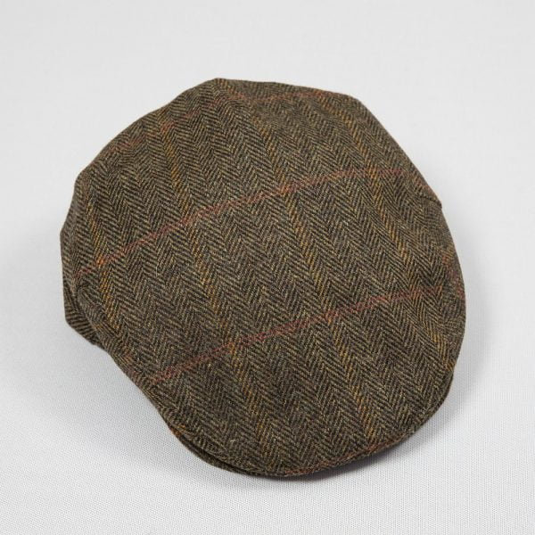Irish Tweed Cap Rust Dark Brown Orange Overcheck