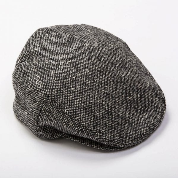 Irish Tweed Cap Black White Donegal Tweed
