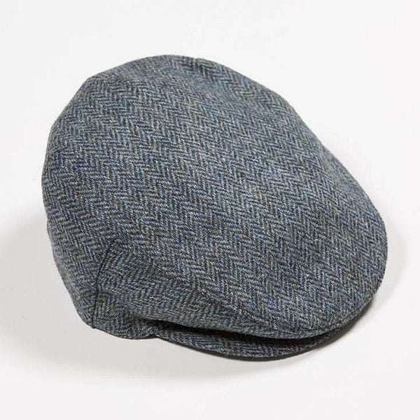 Irish Tweed Cap Mid Blue Green Herringbone