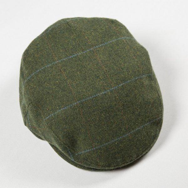 Irish Tweed Cap Pine Green with Overcheck