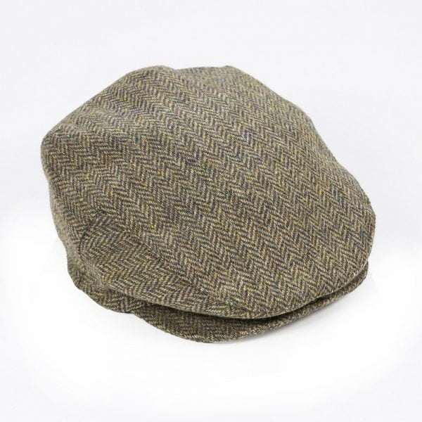 Irish Tweed Cap Beige Green Herringbone