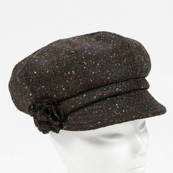 Irish Ladies Tweed Hat Brown Turquoise Herringbone Donegal (with rosette)