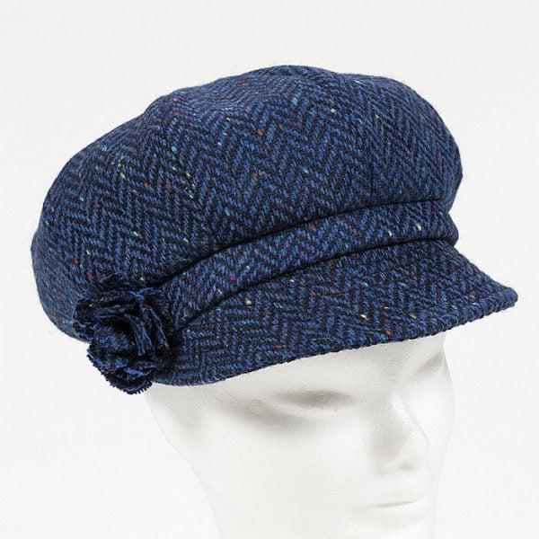 Irish Ladies Tweed Hat Royal Blue Navy Herringbone Donegal (with rosette)