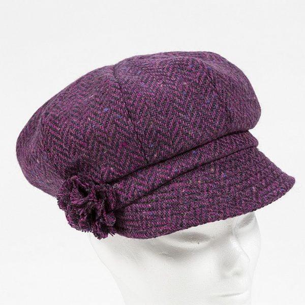 Irish Ladies Tweed Hat Pink Deep Purple Herringbone Donegal (with rosette)