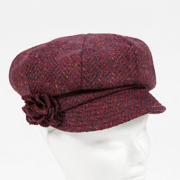 Irish Ladies Tweed Hat Red Deep Purple Herringbone Donegal (with rosette)