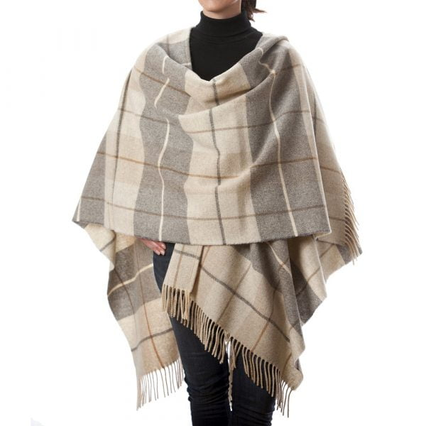 Lambswool Cape Cream and Brown Tartan Mix
