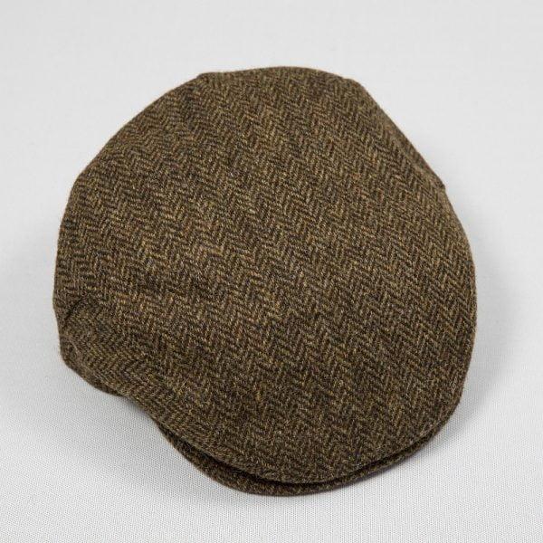 Irish Tweed Cap Beige Dark Brown Herringbone