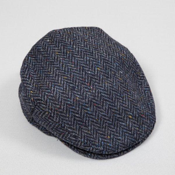 Irish Tweed Cap Denim Navy Herringbone Donegal