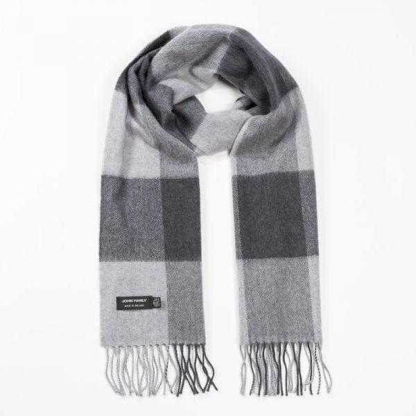 Merino Luxury Wool Scarf Grey Mix Block Check