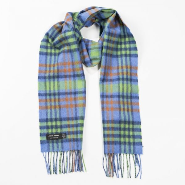 Merino Luxury Wool Scarf Denim Green Lime Green Orange Tartan