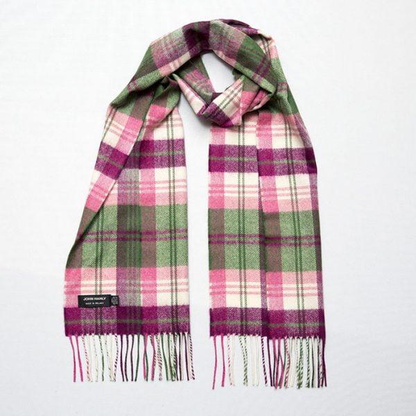 Merino Luxury Wool Scarf Green Pink Maroon Plaid