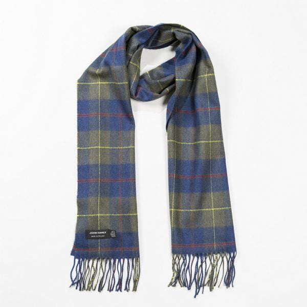 Merino Luxury Wool Scarf Loden Indigo Plaid