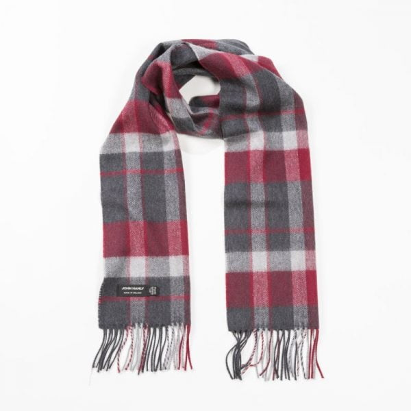 Merino Luxury Wool Scarf Charcoal Silver Red Check